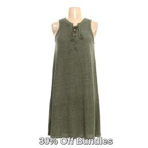 Lace-Up Swing Dress, Heather Green